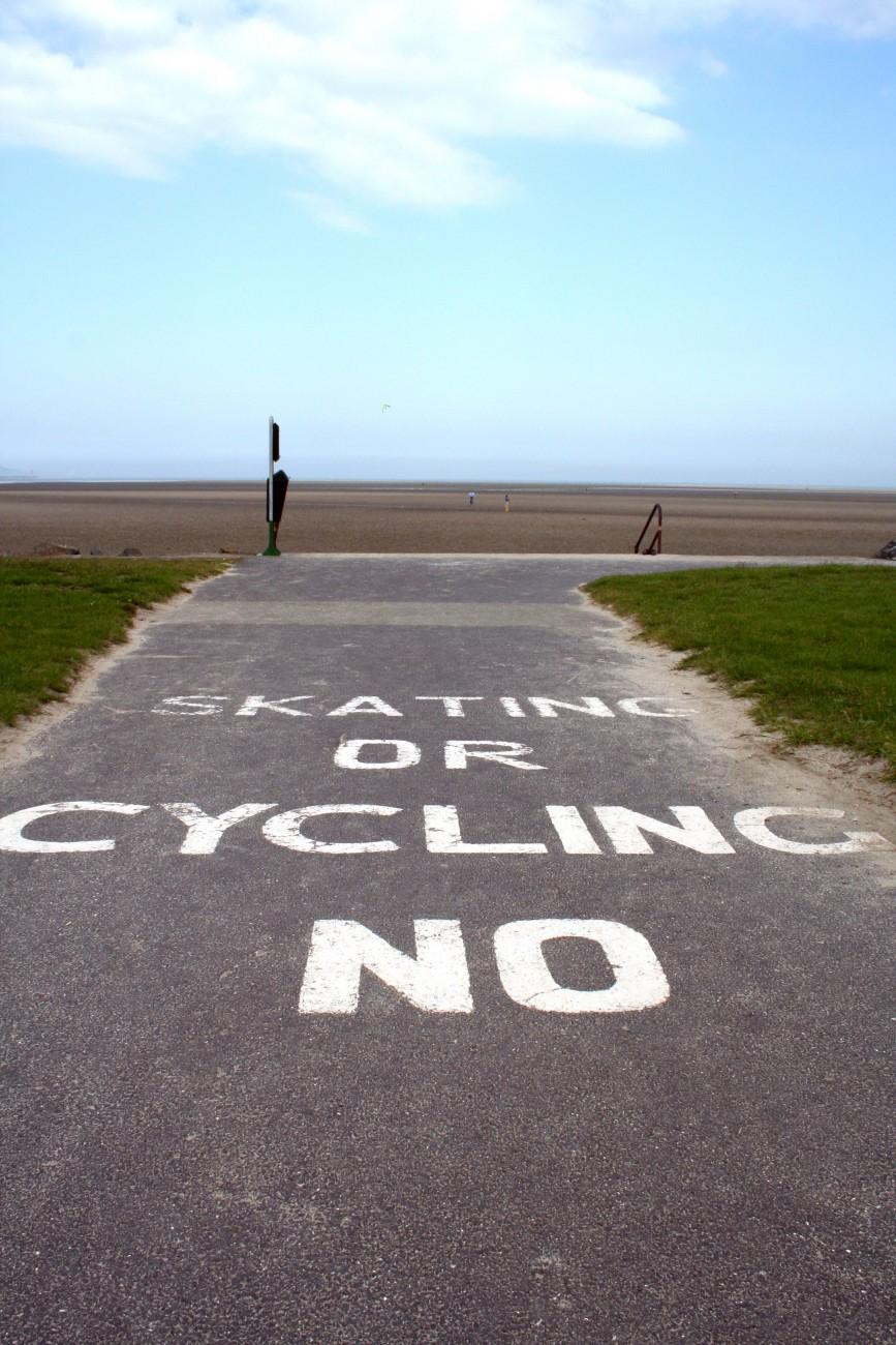 Skating or cycling NO