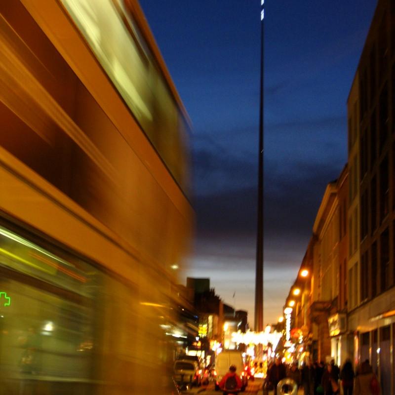 Blurry Dublin bus