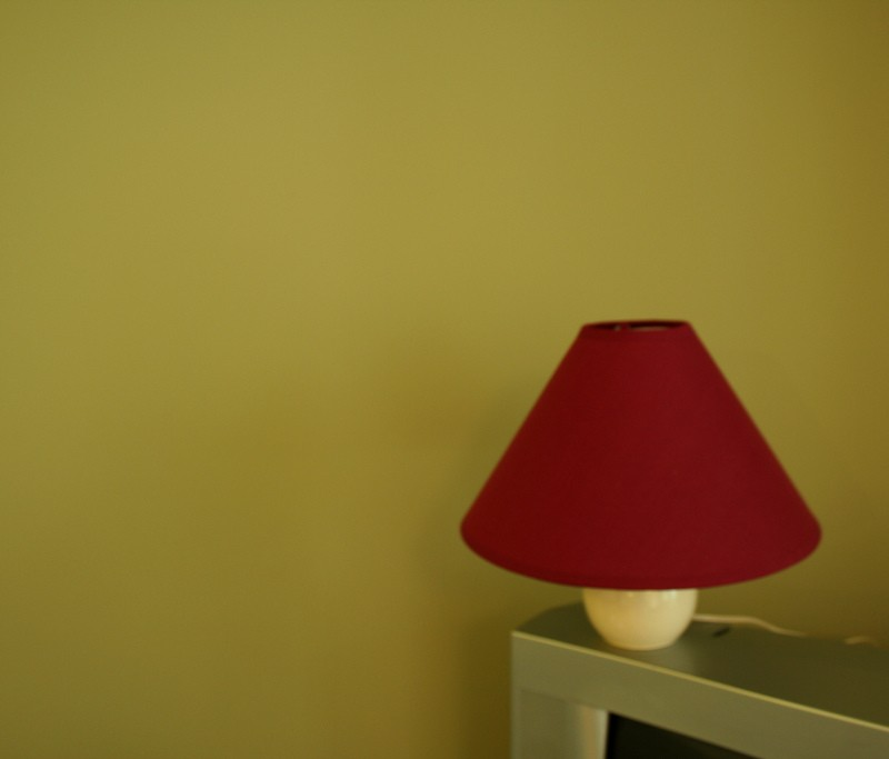 Green wall and lamp